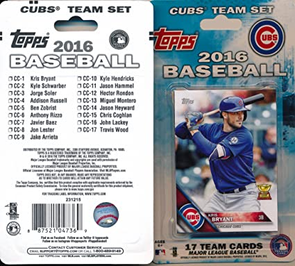 2016 Topps Series 1 2 Chicago Cubs Baseball Card Team Set 22 Card Set Includes Kris Bryant Kyle Schwarber Anthony Rizzo Jake Arrieta Jon