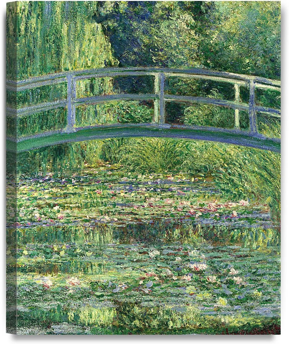 DECORARTS - The Japanese Bridge (The Water-Lily Pond), Claude Monet Art Reproduction. Giclee Canvas Prints Wall Art for Home Decor 20x16