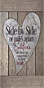 """Sisters Wood Plaque Inspiring Quotes 6 3/4"""" x 13 5/8"""" - Classy Vertical Frame Wall Decoration 