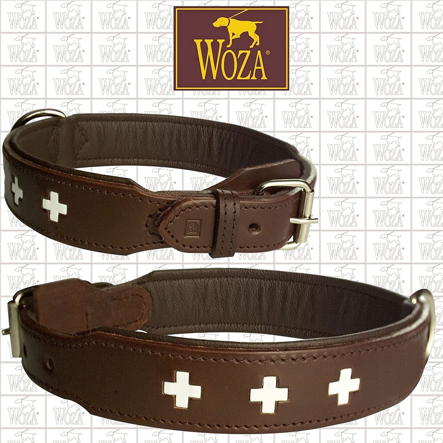 Exclusive dog collar 3.8 60 cm Swiss Berner Sennn Woza Full-Grain Leather Brown Nappa Cowhide Leather Handmade Collar