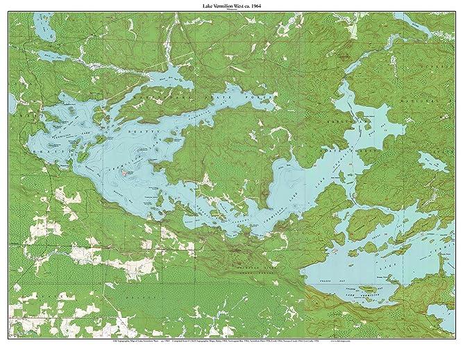 Lake Vermillion Minnesota Map.Amazon Com Lake Vermilion West Ca 1964 Map Old Topographic