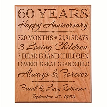 Personalized 60th Anniversary Gifts For Him Her Couple Parents Custom Made 60 Year