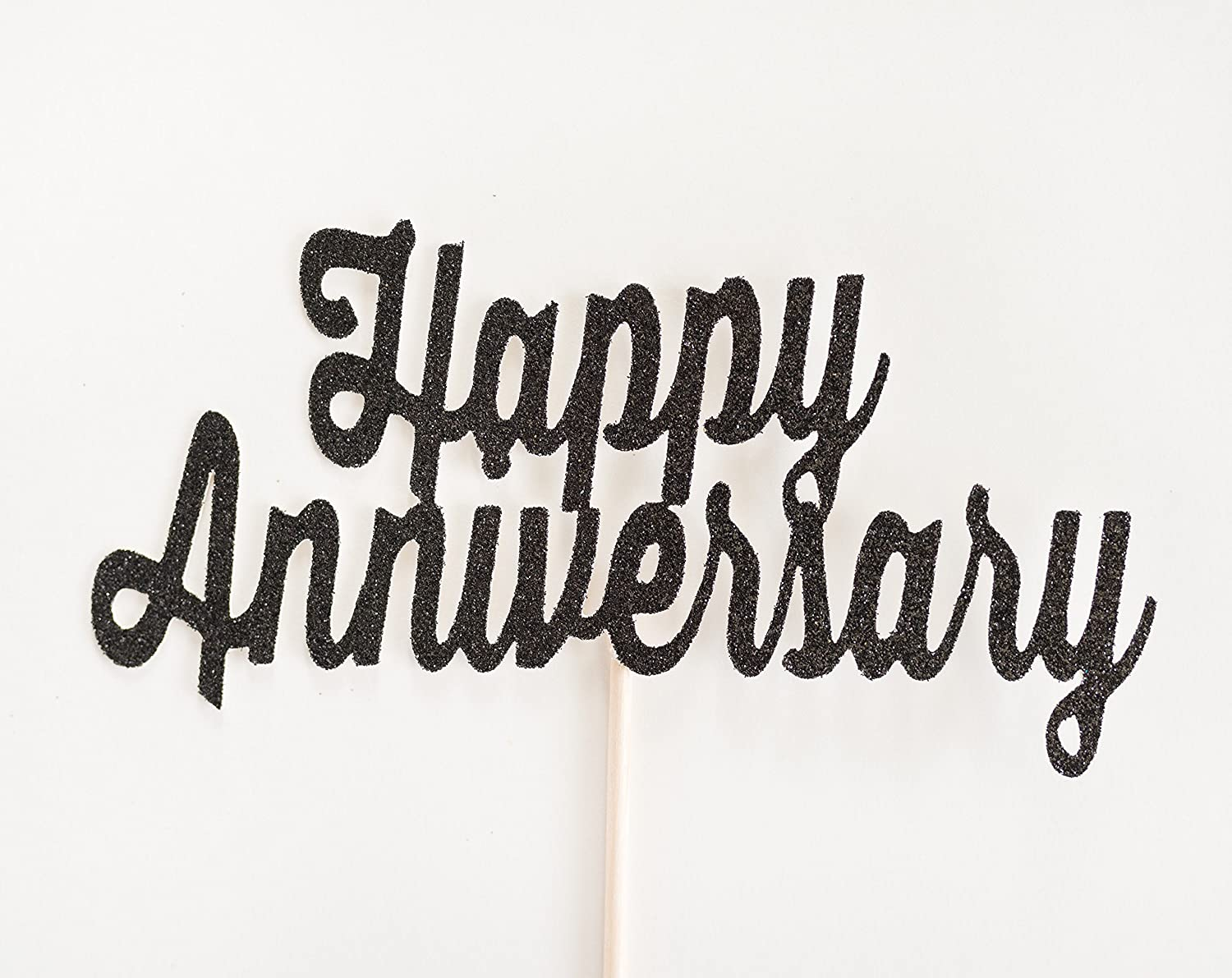 Black Glitter 'Happy Anniversary' Script Cake Topper, Wedding, Handwritten, Hand Writing, Celebration