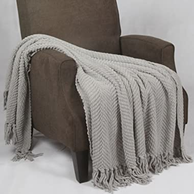 Home Soft Things Boon Knitted Tweed Throw Couch Cover Blanket, 60  x 80 , Silver