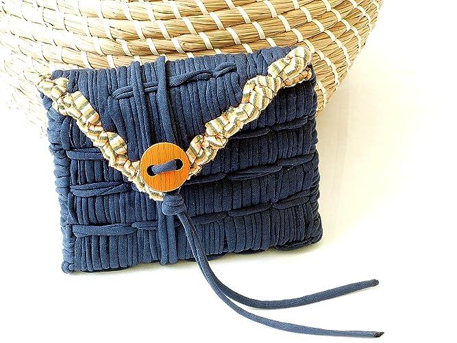 Cartera monedero de tela algodón reciclada azul hecho a mano