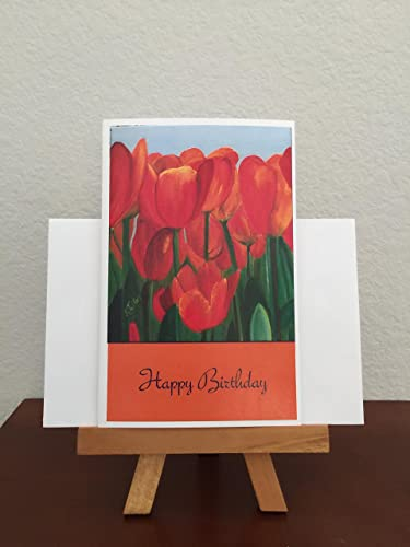 Greeting Card Personalized Happy Birthday Original Artwork Oil Painting Art Framed Custom Order Floral