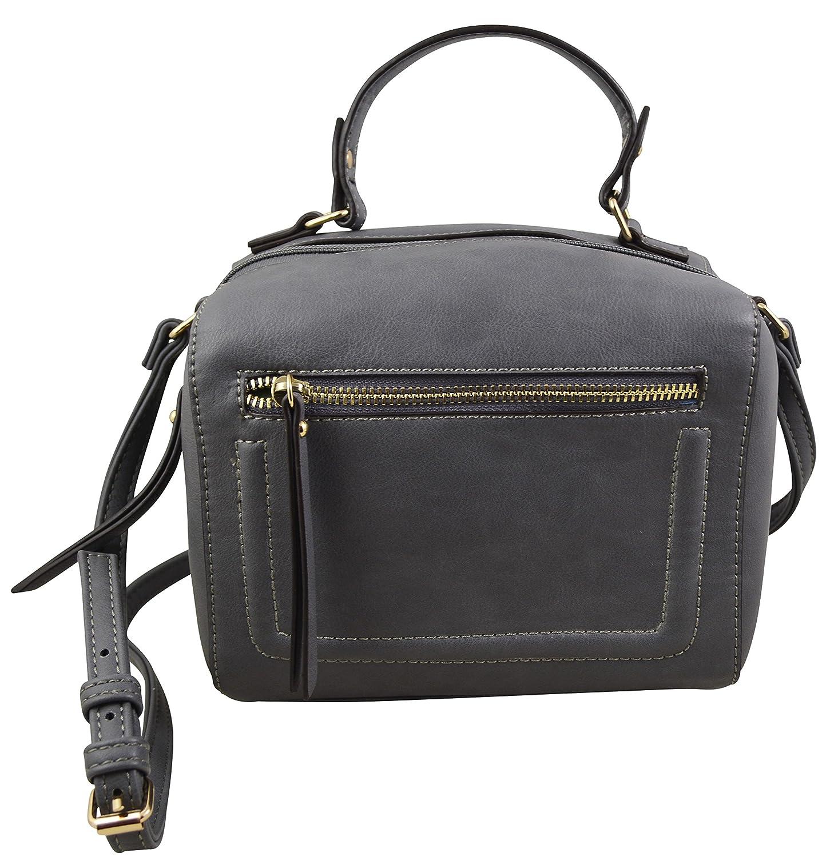 e6b4976c5c Katie Q New York Vegan Leather Boho Crossbody Purse Elegant Casual Bucket  Satchel (Grey)  Handbags  Amazon.com