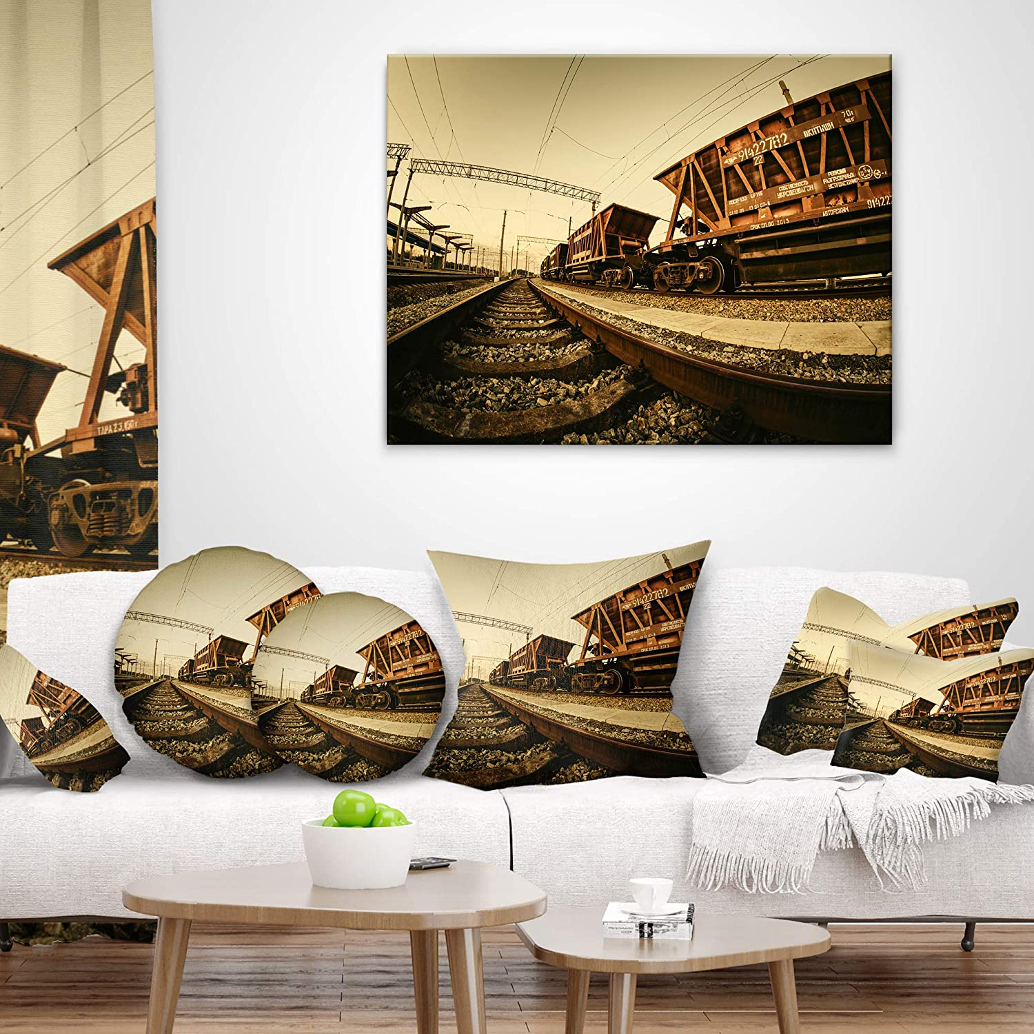 Insert Printed On Both Side in x 26 in Designart CU9349-26-26 Railway Tracks in Ukraine Landscape Photo Cushion Cover for Living Room Sofa Throw Pillow 26 in