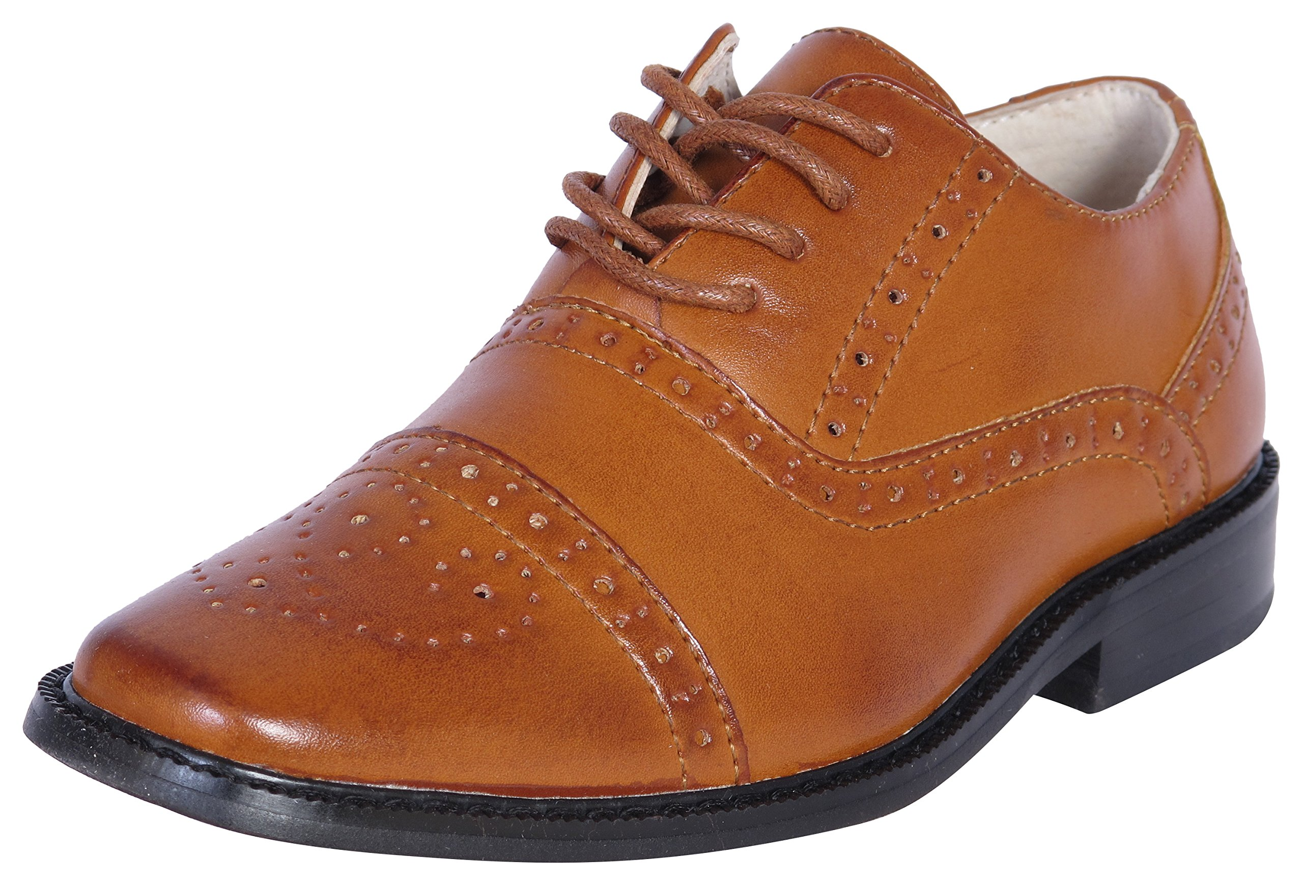 Joseph Allen Boys Wing Tip Perforated Oxford Dress Shoe, Tan, Size 9