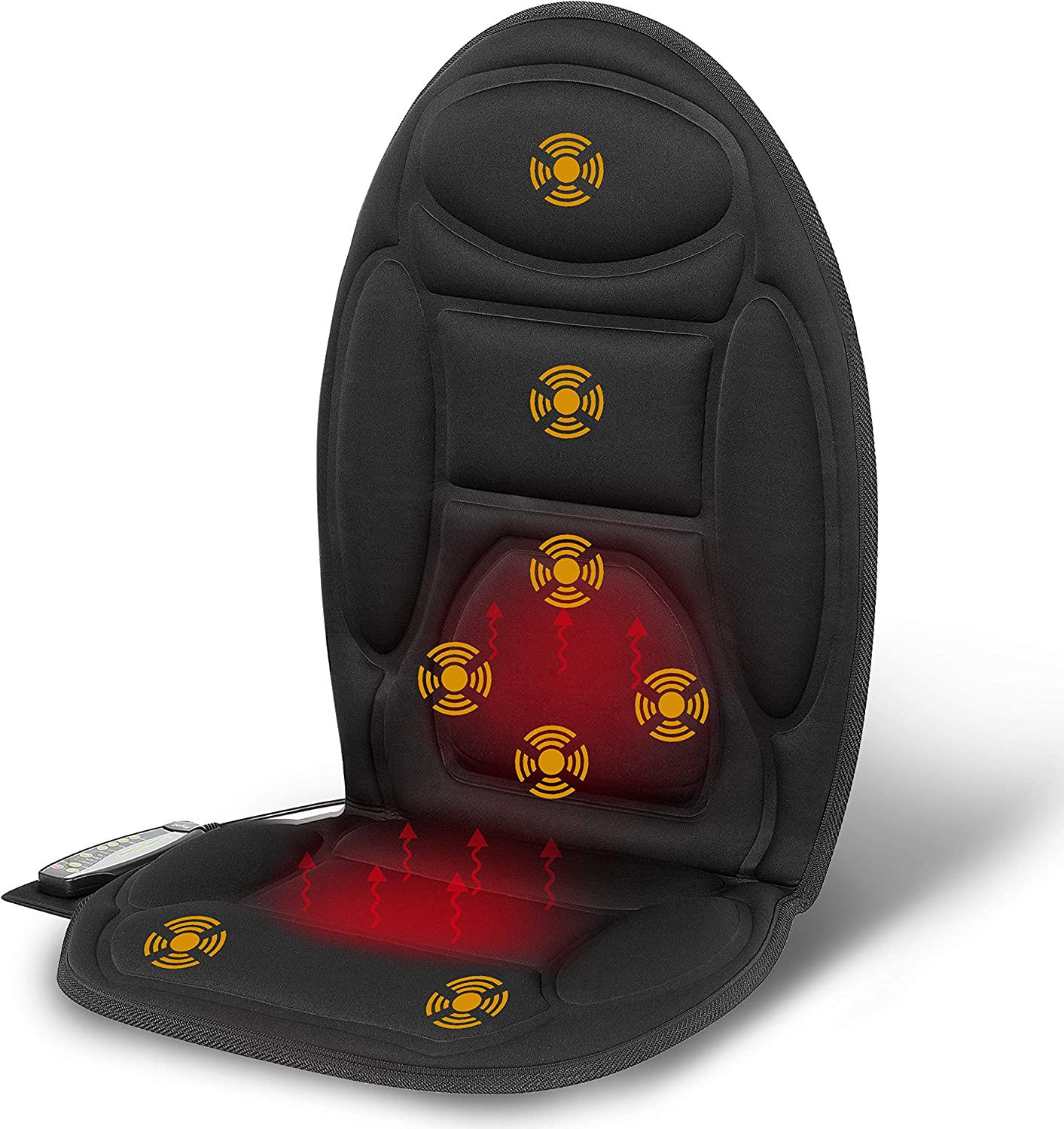 Mynt Vibrating Massage Seat Cushion: Back Massage with Fast Heating, 8 Vibration Massage Nodes Massage Chair Pad for Home Office Chair