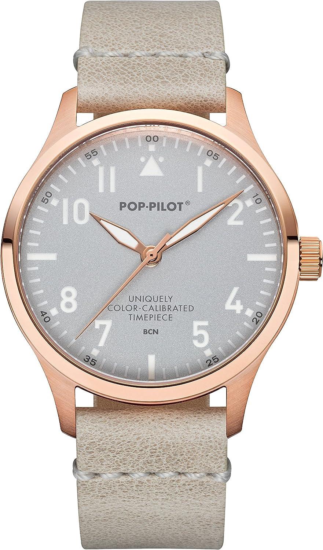 Pop De Pilot® Mujer Piloto Reloj BCN con Pulsera de Piel I Impermeable rosegolden Mujer Reloj I 40mm