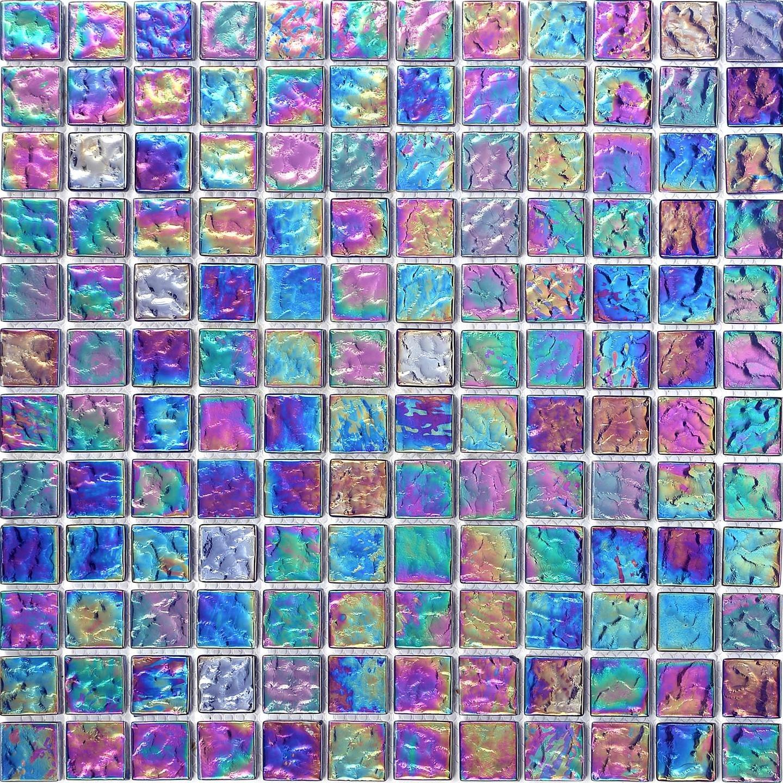 30cm x 30cm Pearl Iridiscent Dark Purple Glass Mosaic Tiles Sheet ...