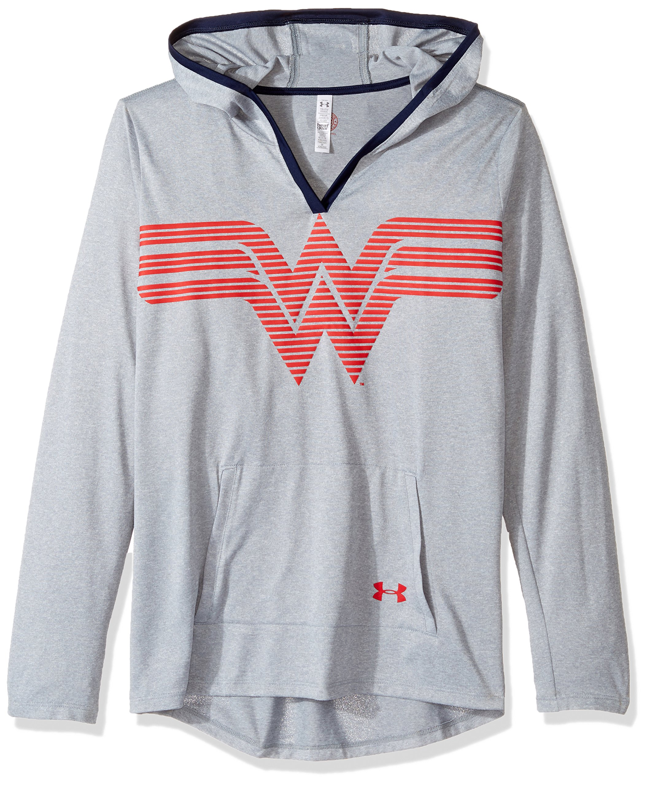 Under Armour Girls' Alter Ego Wonder Woman UA Tech Hoodie,Steel (035)/Red, Youth Small