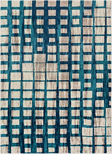 Well Woven Modern Geometric 8×11 7 10 x 10 6 Area Rug Casablanca Ombre Squares Boxes Blue Beige Vibrant Abstract Lines Squares Contemporary Thick Soft Plush
