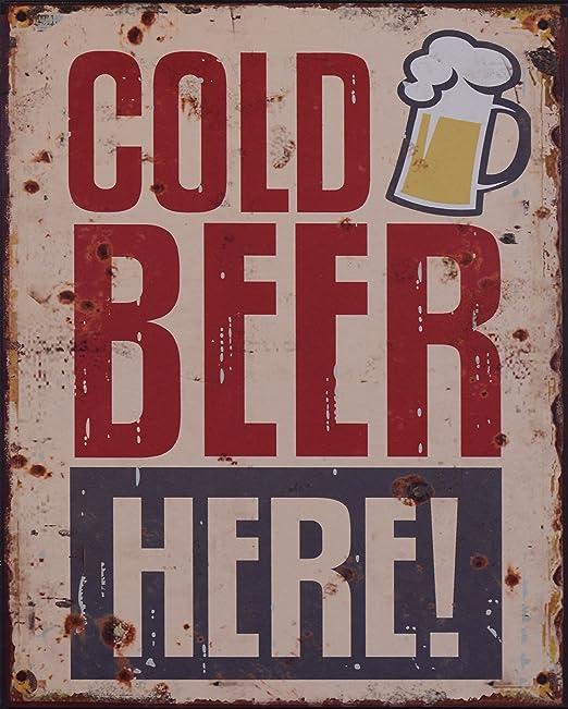 Cartel de Chapa Cold Beer Here nostálgico Retro Cocina ...