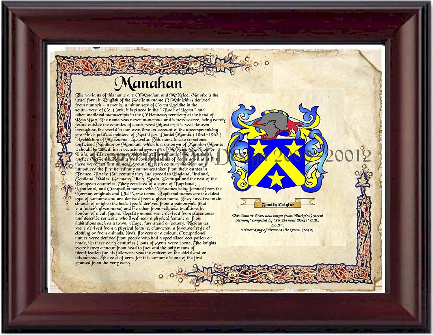 Amazon.com: Manahan Coat of Arms/ Family Crest on Fine Paper and ...