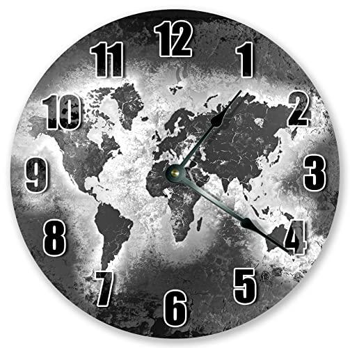 Amazon 105 grey world map clock large 105 wall clock 105quot grey world map clock large 105quot gumiabroncs
