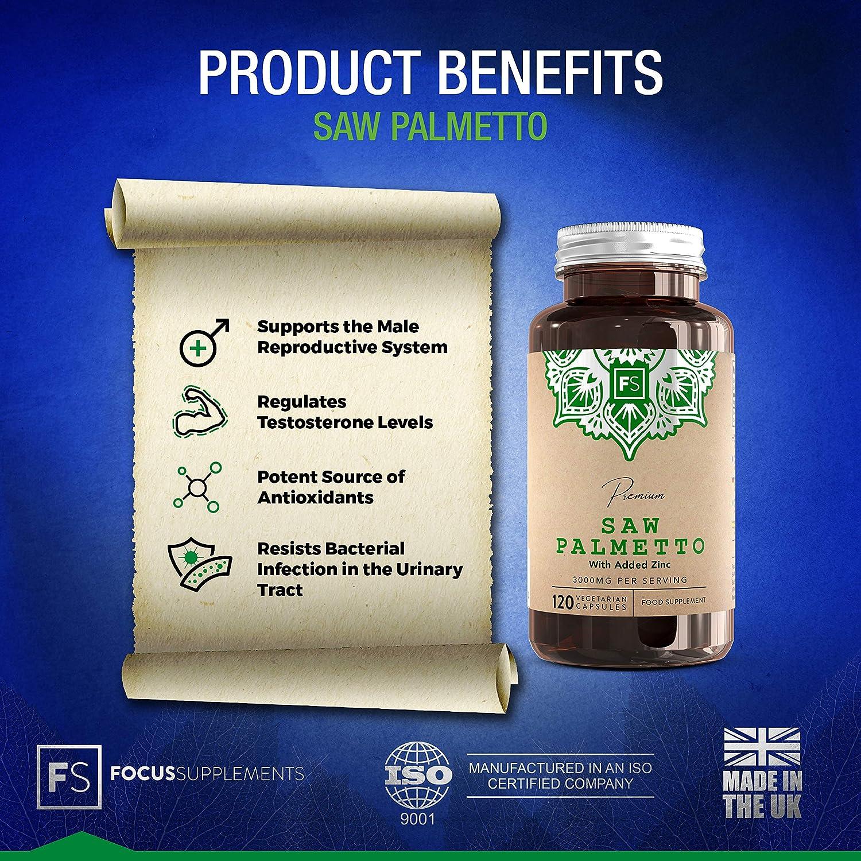 FS Saw Palmetto Pastillas Para la salud de la Próstata y Pelo - Extracto 5: 1 [3000 mg] con zinc | 120 Cápsulas Veganas | Serenoa Repens para la Salud ...