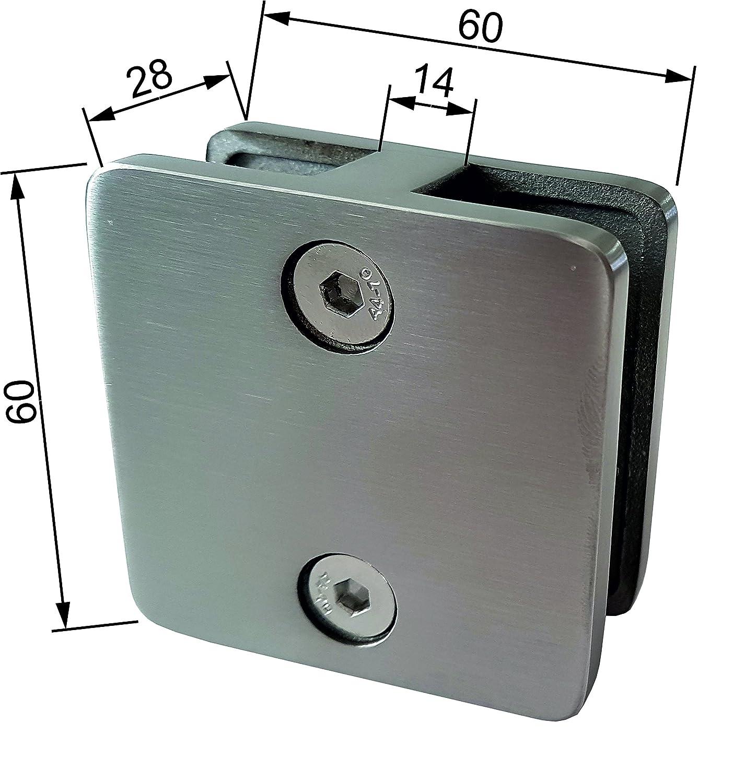 2-seitig offen, Glas 12,76 mm PMC Glashalter Edelstahl V4A Glasklemme Glass Clamp Klemmhalter Gel/änder eckig rund