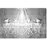 """The Oliver Gal Artist Co. Fashion and Glam Wall Art Canvas Prints 'Dramatic Entrance Chrome' Home Décor, 45"""" x 30"""", Gray, Whi"""