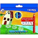 Lyra - Crayons de couleur Lyra Groove Triple 1, étui de 12 crayons 3 en 1