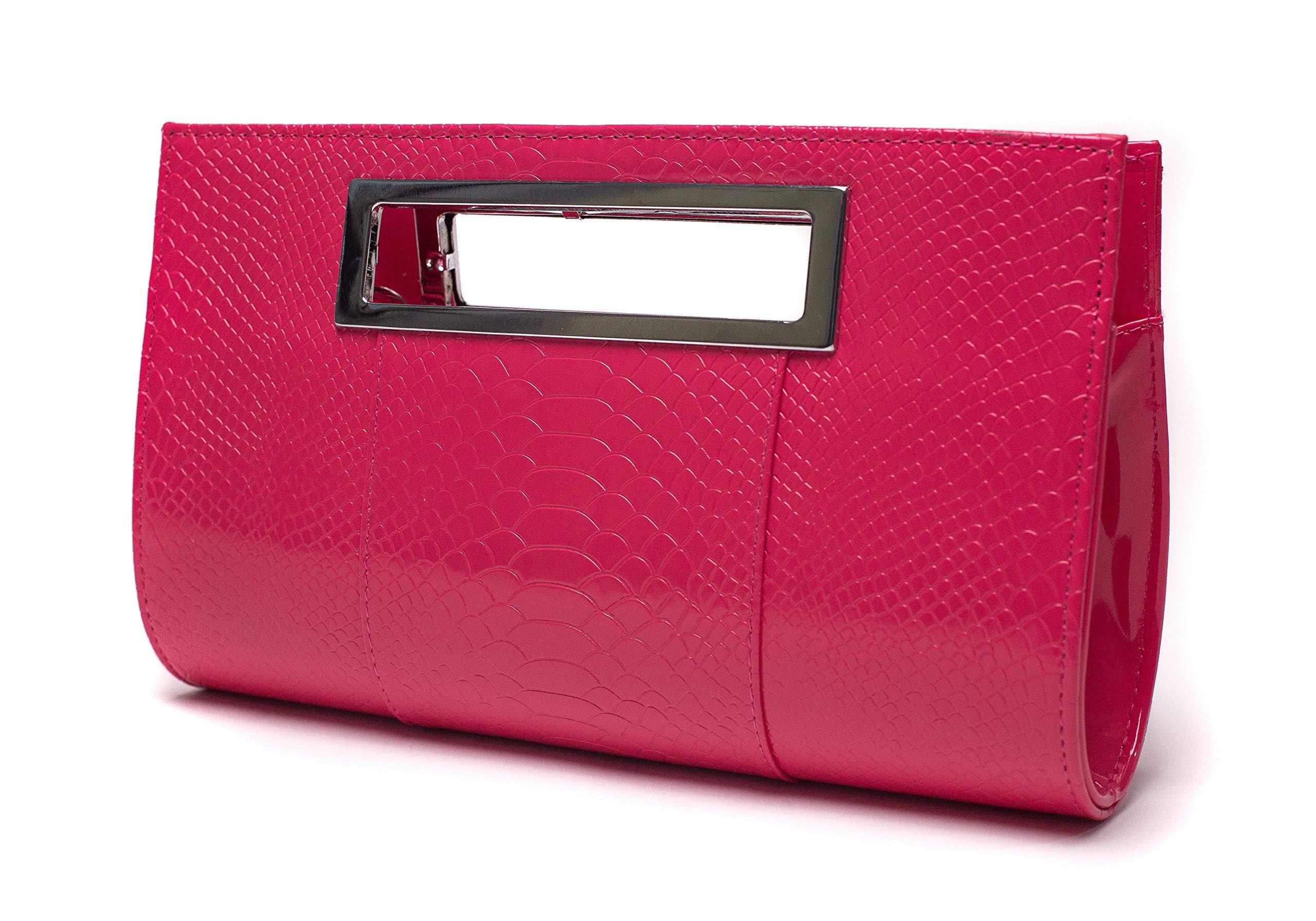 Ilishop Women's Classic Crocodile Pattern Faux Leather Metal Grip Clutch (Rose)