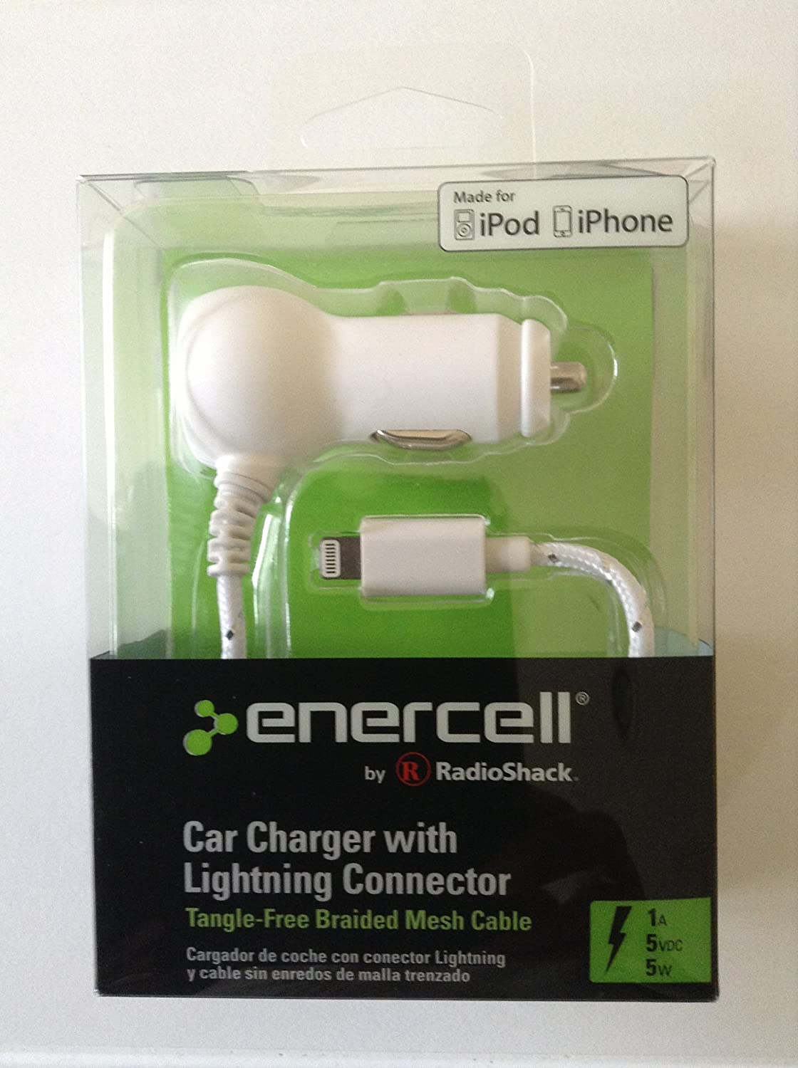 Amazon Com Enercell 5v 1a Braided Car Auto Iphone 5 5s Charger W