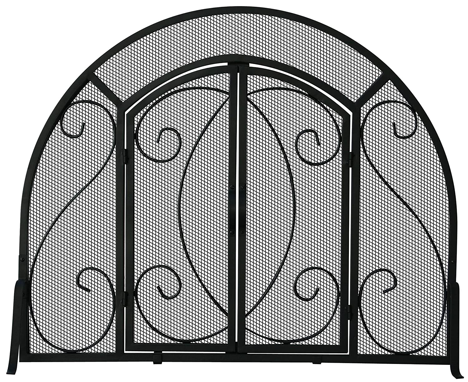 amazon com uniflame single panel black wrought iron ornate screen