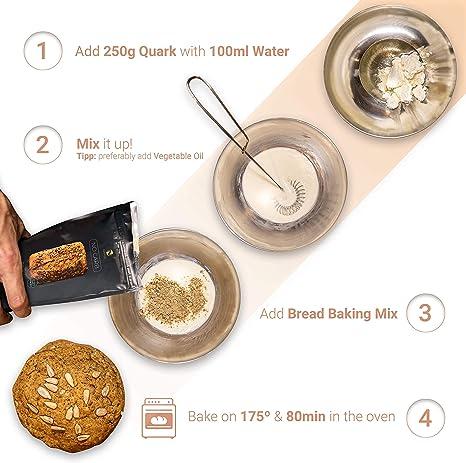 Seed Mix - Mezcla para hornear pan de proteínas 3x200g.   4g. carbohidratos   Sin cereales   Sin gluten   Para Paleo, Keto baja en carbohidratos y ...