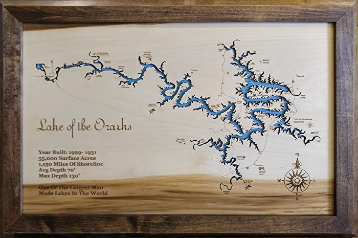 Amazoncom Lake of the Ozarks Missouri Framed Wood Map Wall