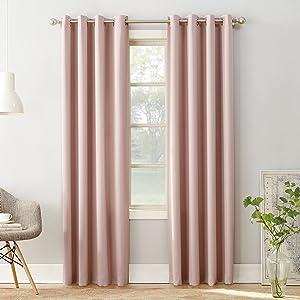"Sun Zero Barrow Energy Efficient Grommet Curtain Panel, 54"" x 84"", Blush Pink"