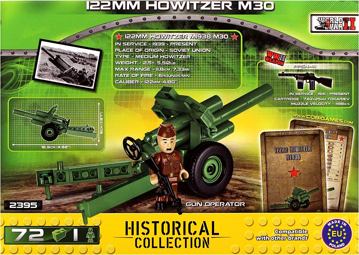 COBI Historical Collection 122mm Howitzer M30 Green