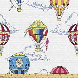 Ambesonne Colorful Fabric by The Yard, Hand Drawn Sketches Clouds and Hot Air Balloons Playroom, Decorative Fabric for Upholstery and Home Accents, 1 Yard, White Indigo