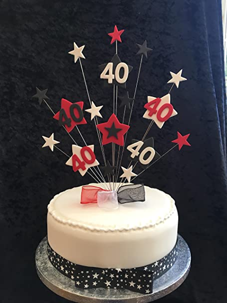 Amazing 40Th Birthday Cake Topper Red Black And White Stars Plus 1 X Funny Birthday Cards Online Elaedamsfinfo