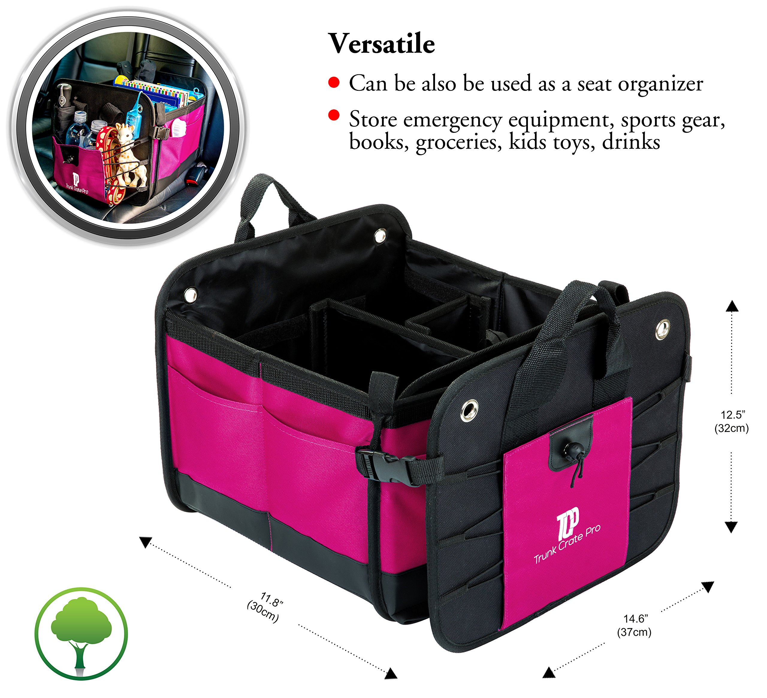 TrunkCratePro Premium Multi Compartments Collapsible Portable Trunk Organizer for auto, SUV, Truck, Minivan (pink) by TrunkCratePro (Image #4)