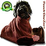 PoochOneZee Dry Fast Dog Bag Water Mud and Dirt Super Absorbent Microfiber Solution Towel with Zip (Brown)