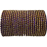 BangleEmporium Chamak Collection! Indian Bangles Dark Purple Gold Medium 2.8