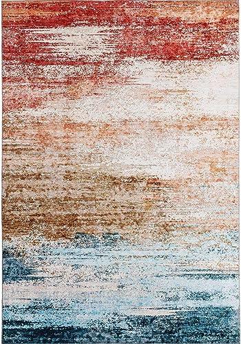 DECOMALL Leon Modern Abstract Area Rugs 8'x10' Multicolor Contemporary Carpet
