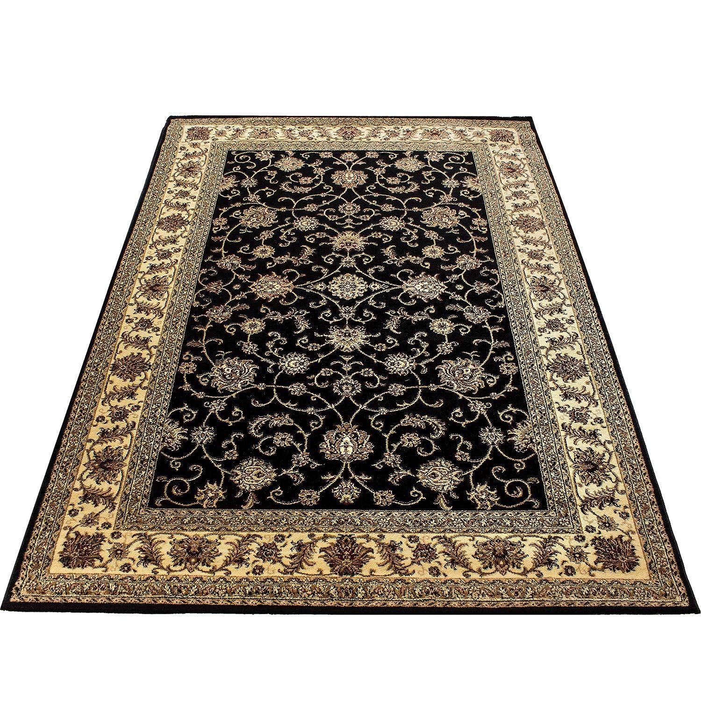 Orientteppich Wohnzimmer Klassische Optik Orientalisch Ornamente Schwarz Beige, Maße 160x230 cm