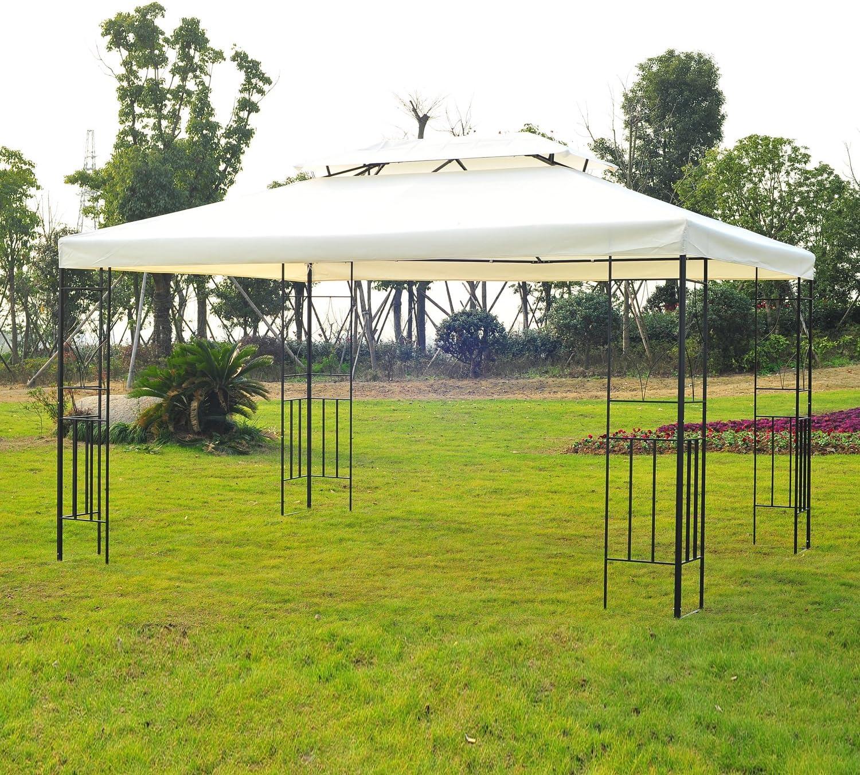 Outsunny – Carpa de jardín Pérgola (Metal Crema 2.95 x 3.95 cm ...