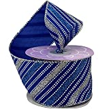 """Royal Blue Silver Wired Ribbon - 2 1/2"""" x 10 Yards, Sparkly Striped Metallic Christmas Decor, Hanukkah, Holiday Garland, Gifts, Wrapping, Wreaths, Bows, Boxing Day, Gift Basket"""