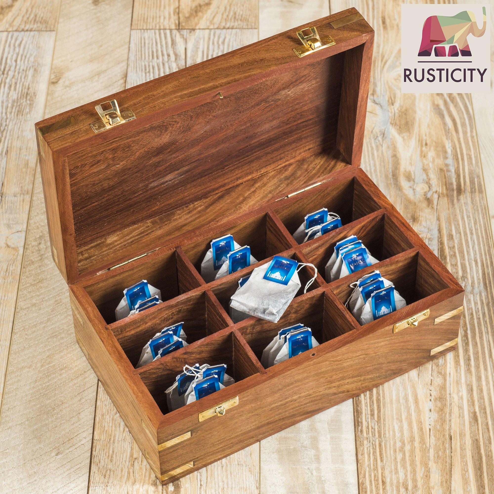 Rusticity Wood Tea Bag/Spice Storage Box with Lid and 9 pockets | Handmade | (10.2 x 6.2 x 4 in) by Rusticity (Image #8)