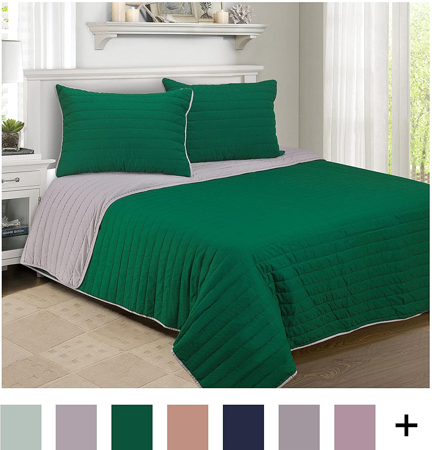 Superior 100% Cotton, Soft, Twin, Brandon Striped Quilt Set, Hunter Green