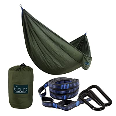 "Esup XL Camping Hammock -Multifunctional Lightweight Nylon Portable Hammock, Best Parachute Hammock for Backpacking, Camping, Travel, Army Green, 118""(L) x 78""(W): Sports & Outdoors"