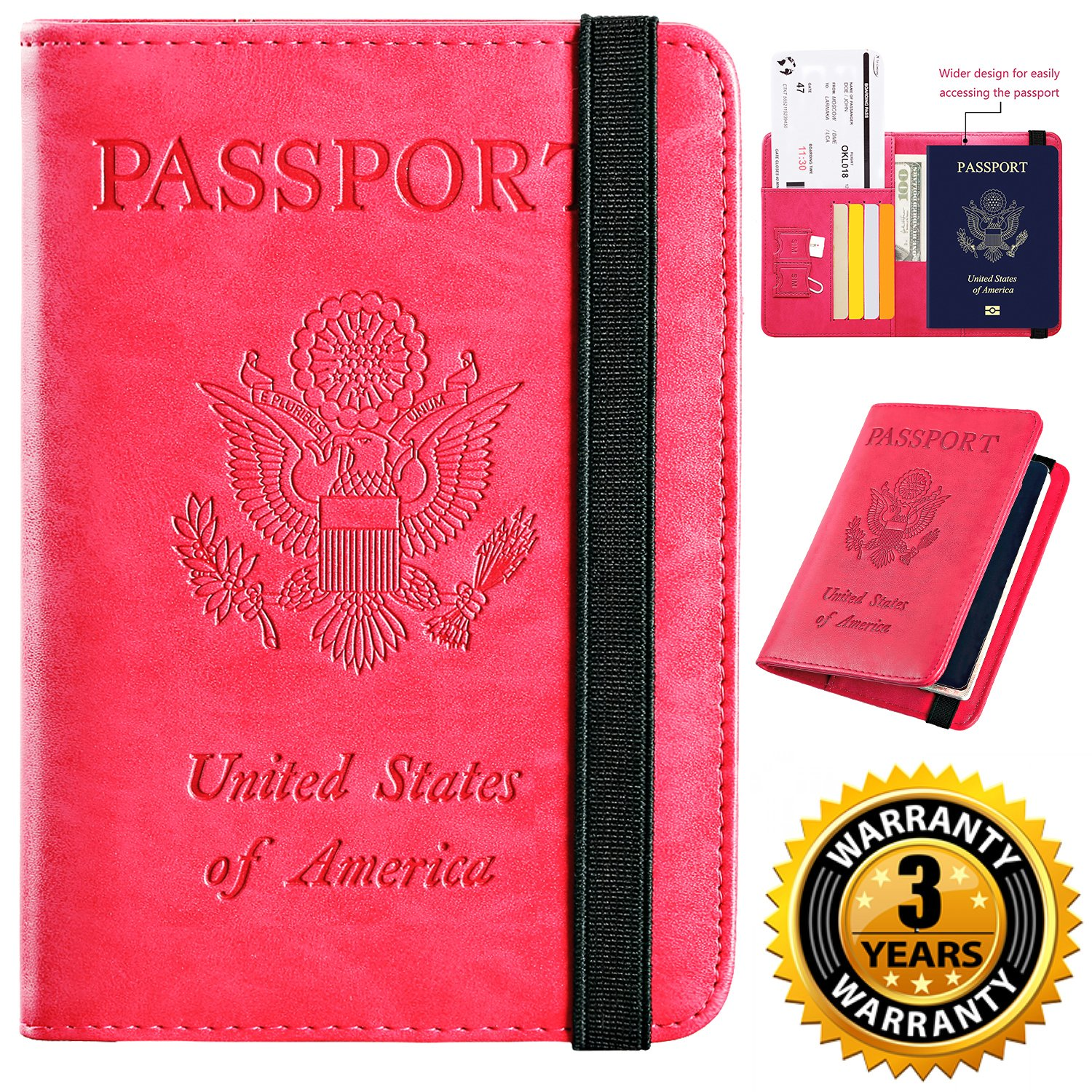 Passport Holder Cover Wallet RFID Blocking Leather Card Case Travel Document Organizer (Rose Red)