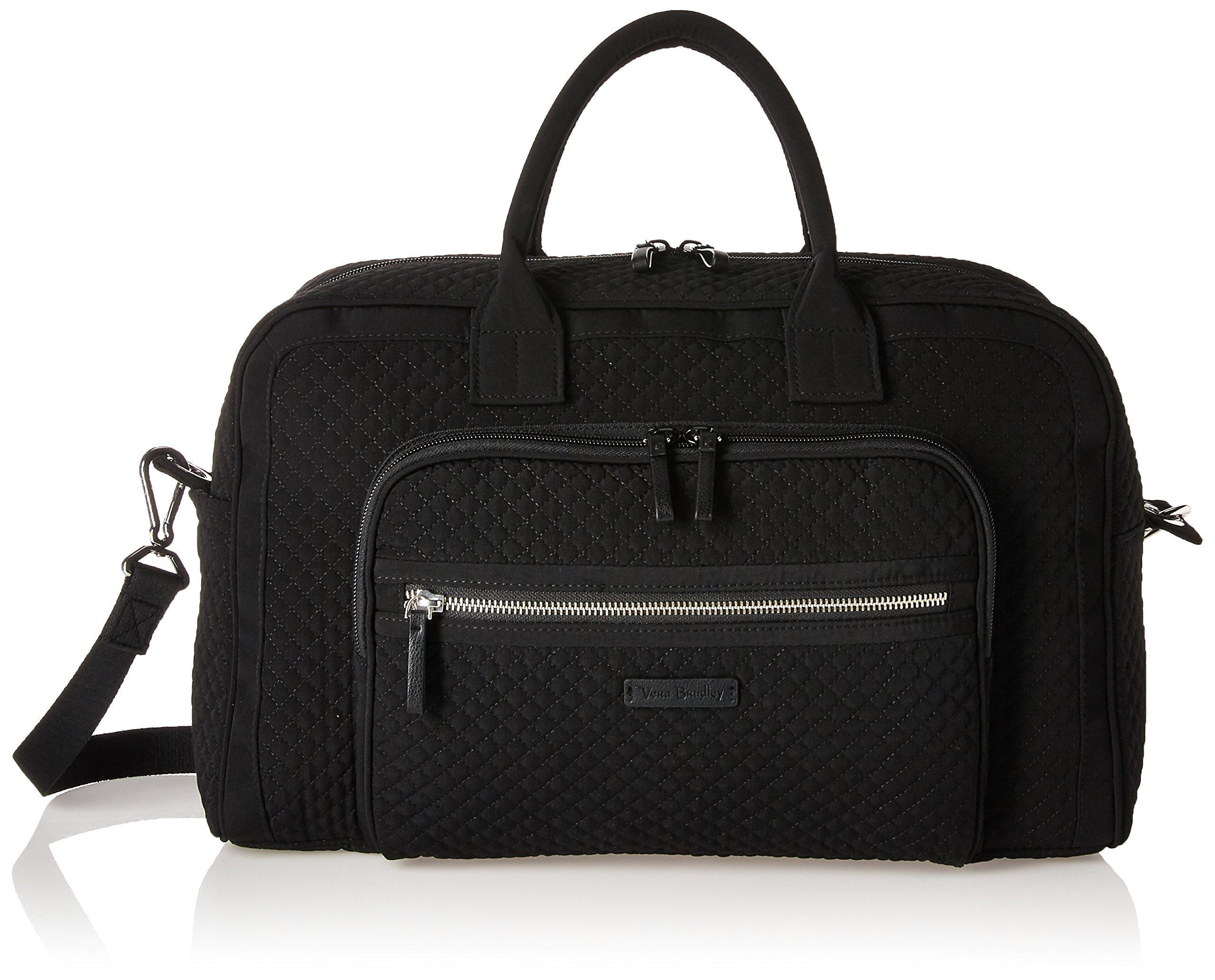 Vera Bradley Women's Iconic Compact Weekender Travel Bag Vera, Classic Black
