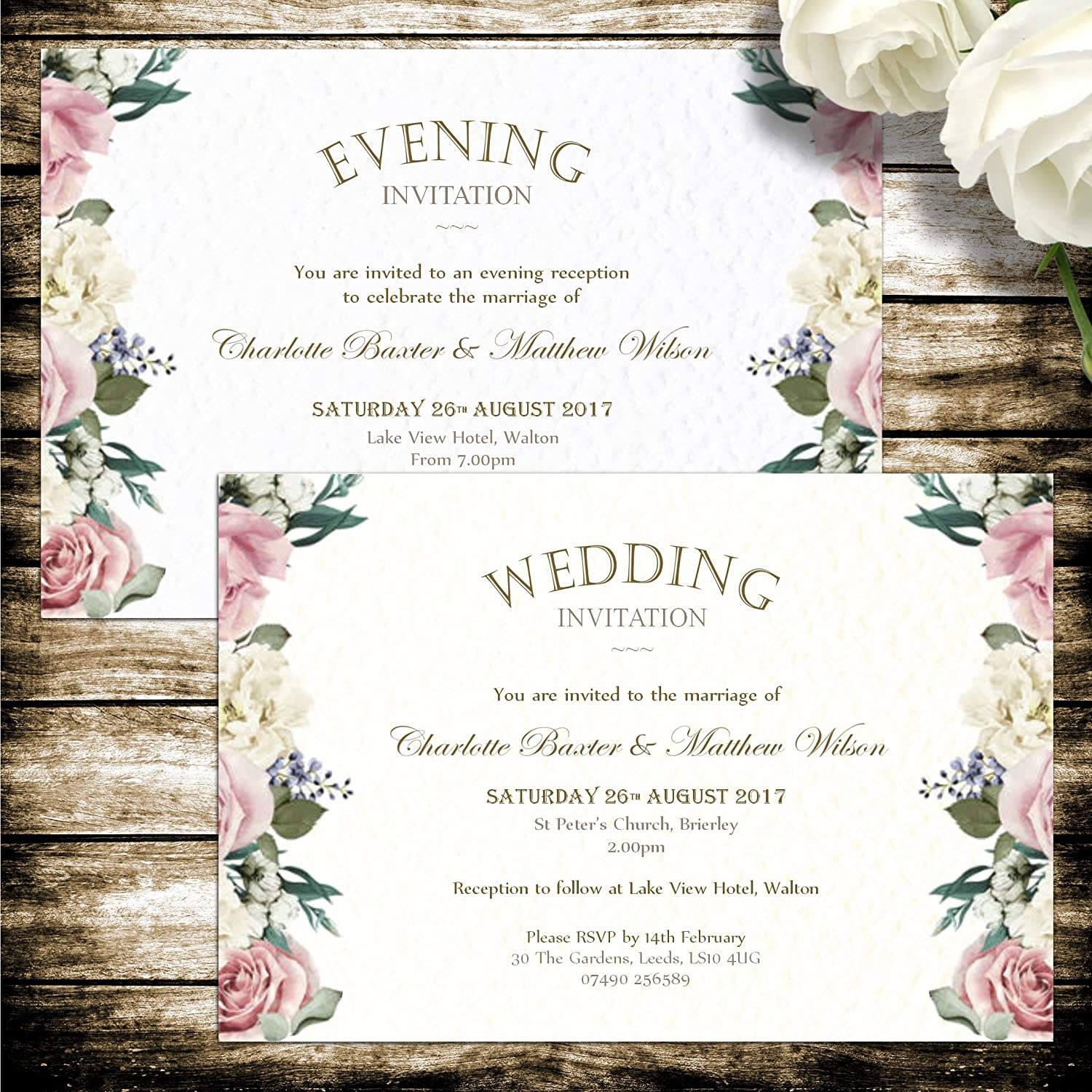 10 Personalised wedding or evening invitations with envelopes ...