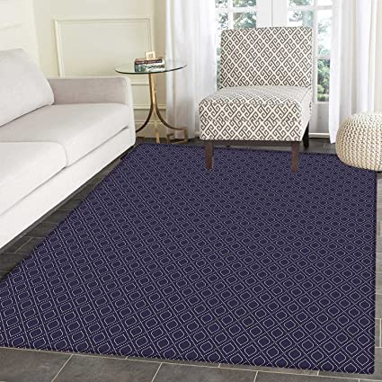 Navy Blue Rugs for Bedroom Geometric Dotted Pattern Design with Abstract  Ogee Shapes Grid Ornament Tile 22b463c920
