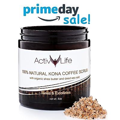 100% Natural Arabic Coffee Scrub with Organic Kona Coffee, Shea Butter & Dead Sea Salt – Moisturize, Exfoliate, Tone - Best Acne, Anti Cellulite & Stretch Mark Treatment