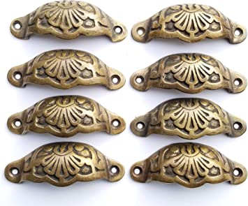 "6 Apothecary Drawer Cup Bin Pulls Handles Antique Victorian Style 3-9//16/""w #A2"